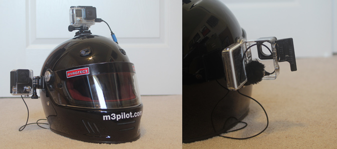 Helmet with GoPro rigged for better audio, cut wind noise